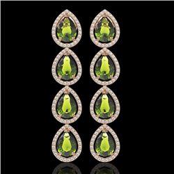 10.48 CTW Tourmaline & Diamond Halo Earrings 10K Rose Gold - REF-195N6Y - 41304