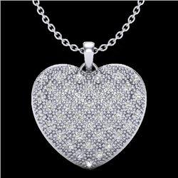 1.0 Designer CTW Micro Pave VS/SI Diamond Heart Necklace 14K White Gold - REF-87H3A - 20490
