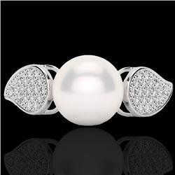 0.27 CTW Micro Pave VS/SI Diamond & Pearl Designer Ring 18K White Gold - REF-45N3Y - 22643