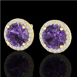 4 CTW Amethyst & Halo VS/SI Diamond Micro Pave Earrings Solitaire 18K Yellow Gold - REF-65K8W - 2147