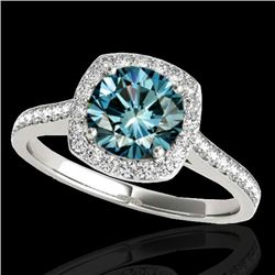 1.65 CTW Si Certified Fancy Blue Diamond Solitaire Halo Ring 10K White Gold - REF-209F3N - 34198