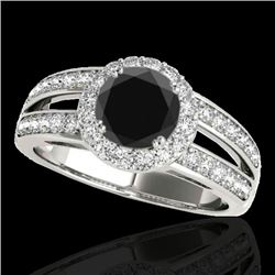 1.6 CTW Certified VS Black Diamond Solitaire Halo Ring 10K White Gold - REF-85W5F - 34250