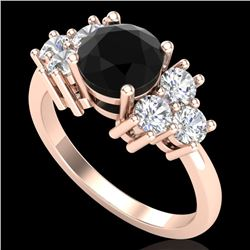 2.1 CTW Fancy Black Diamond Solitaire Engagement Classic Ring 18K Rose Gold - REF-154K5W - 37605
