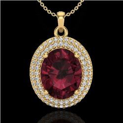 4.50 CTW Garnet & Micro Pave VS/SI Diamond Necklace 18K Yellow Gold - REF-96H5A - 20566
