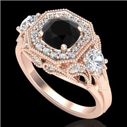 2.11 CTW Fancy Black Diamond Solitaire Art Deco 3 Stone Ring 18K Rose Gold - REF-180A2X - 38298