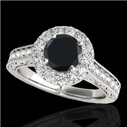 1.7 CTW Certified VS Black Diamond Solitaire Halo Ring 10K White Gold - REF-84W4F - 33727