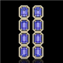 19.39 CTW Tanzanite & Diamond Halo Earrings 10K Yellow Gold - REF-418W5F - 41581