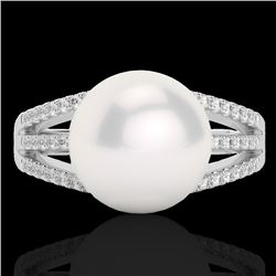 0.30 CTW Micro Pave VS/SI Diamond & Pearl Designer Ring 18K White Gold - REF-50A8X - 22629
