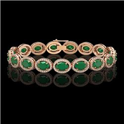22.89 CTW Emerald & Diamond Halo Bracelet 10K Rose Gold - REF-291W5F - 40602