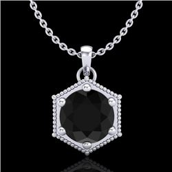 0.82 CTW Fancy Black Diamond Solitaire Art Deco Stud Necklace 18K White Gold - REF-54T5M - 38045