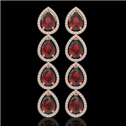 9.25 CTW Garnet & Diamond Halo Earrings 10K Rose Gold - REF-151K3W - 41328