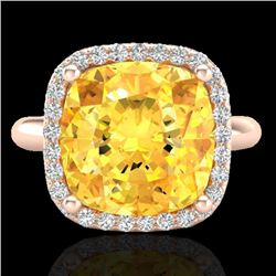 6 CTW Citrine And Micro Pave Halo VS/SI Diamond Ring Solitaire 14K Rose Gold - REF-47F3N - 23095