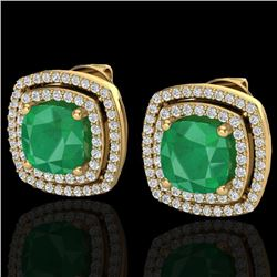 4.95 CTW Emerald & Micro Pave VS/SI Diamond Halo Earrings 18K Yellow Gold - REF-116F4N - 20163