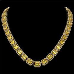 77.35 CTW Fancy Citrine & Diamond Halo Necklace 10K Yellow Gold - REF-737Y3K - 41518