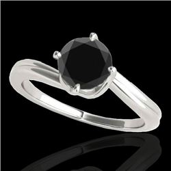 1 CTW Certified VS Black Diamond Bypass Solitaire Ring 10K White Gold - REF-44Y8K - 35033