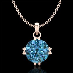 1 CTW Intense Blue Diamond Solitaire Art Deco Stud Necklace 18K Rose Gold - REF-167A3X - 37545