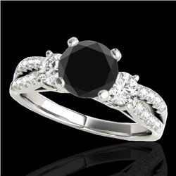 1.5 CTW Certified VS Black Diamond 3 Stone Ring 10K White Gold - REF-69Y3K - 35406