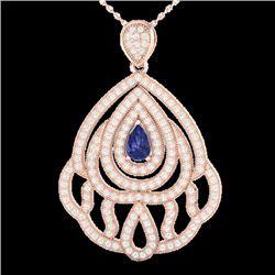 2 CTW Tanzanite & Micro Pave VS/SI Diamond Designer Necklace 14K Rose Gold - REF-178X2T - 21273