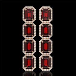 17.8 CTW Garnet & Diamond Halo Earrings 10K Rose Gold - REF-174H2A - 41616