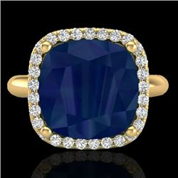 6 CTW Sapphire And Micro Pave Halo VS/SI Diamond Ring Solitaire 18K Yellow Gold - REF-77A3X - 23105