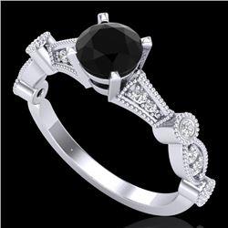 1.03 CTW Fancy Black Diamond Solitaire Engagement Art Deco Ring 18K White Gold - REF-80M2H - 37674