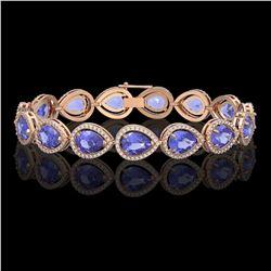 21.06 CTW Tanzanite & Diamond Halo Bracelet 10K Rose Gold - REF-532K4W - 41244