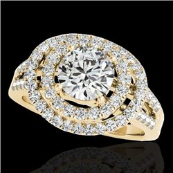 1.75 CTW H-SI/I Certified Diamond Solitaire Halo Ring 10K Yellow Gold - REF-200M2H - 34285