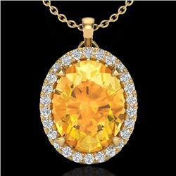 2.75 CTW Citrine & Micro VS/SI Diamond Halo Solitaire Necklace 18K Yellow Gold - REF-48Y4K - 20586