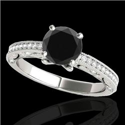 1.25 CTW Certified VS Black Diamond Solitaire Antique Ring 10K White Gold - REF-56T8M - 34741