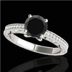 1.25 CTW Certified VS Black Diamond Solitaire Antique Ring 10K White Gold - REF-56T8M - 34741