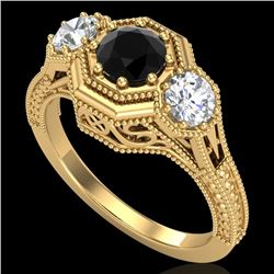 1.05 CTW Fancy Black Diamond Solitaire Art Deco 3 Stone Ring 18K Yellow Gold - REF-132X8T - 37949