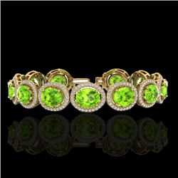 27 CTW Peridot & Micro Pave VS/SI Diamond Bracelet 10K Yellow Gold - REF-409F3N - 22694