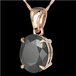 5 CTW Black VS/SI Diamond Designer Solitaire Necklace 14K Rose Gold - REF-161H8A - 21854