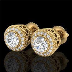 1.55 CTW VS/SI Diamond Solitaire Art Deco Stud Earrings 18K Yellow Gold - REF-259W3F - 36964