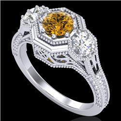 1.05 CTW Intense Fancy Yellow Diamond Art Deco 3 Stone Ring 18K White Gold - REF-161T8M - 37952