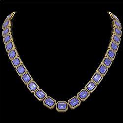 79.99 CTW Tanzanite & Diamond Halo Necklace 10K Yellow Gold - REF-1704F2N - 41485