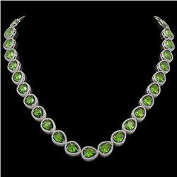 33.6 CTW Peridot & Diamond Halo Necklace 10K White Gold - REF-675X3T - 41213