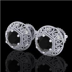 1.31 CTW Fancy Black Diamond Solitaire Art Deco Stud Earrings 18K White Gold - REF-81K8W - 37555
