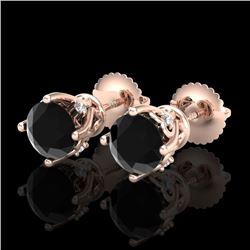 1.26 CTW Fancy Black Diamond Solitaire Art Deco Stud Earrings 18K Rose Gold - REF-67A3X - 37787