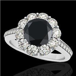 2 CTW Certified VS Black Diamond Solitaire Halo Ring 10K White Gold - REF-94F8N - 33251