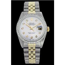 Rolex Ladies Two Tone 14K Gold/SS, Diamond Dial & Diamond Bezel, Sapphire Crystal - REF-434A7N