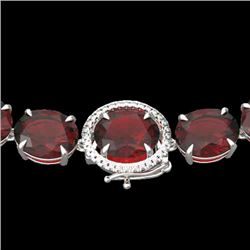 145 CTW Garnet & VS/SI Diamond Halo Micro Solitaire Necklace 14K White Gold - REF-455T6M - 22297