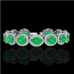 30 CTW Emerald & Micro Pave VS/SI Diamond Bracelet 10K White Gold - REF-481H8A - 22686