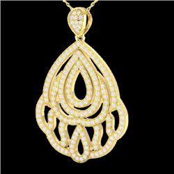 1.50 CTW Micro Pave VS/SI Diamond Necklace Designer 18K Yellow Gold - REF-154M8H - 21282