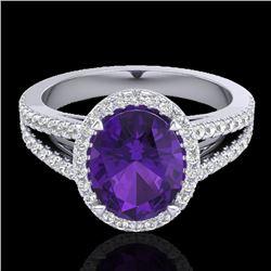 3 CTW Amethyst & Micro VS/SI Diamond Halo Solitaire Ring 18K White Gold - REF-67H6A - 20927