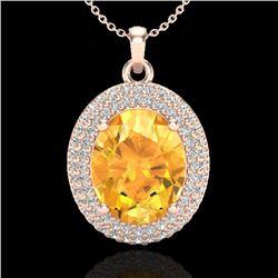 4 CTW Citrine & Micro Pave VS/SI Diamond Necklace 14K Rose Gold - REF-84A9X - 20559