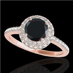 1.6 CTW Certified VS Black Diamond Solitaire Halo Ring 10K Rose Gold - REF-75M3H - 33674
