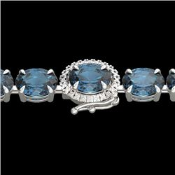 36 CTW London Blue Topaz & VS/SI Diamond Tennis Micro Halo Bracelet 14K White Gold - REF-128T9M - 23