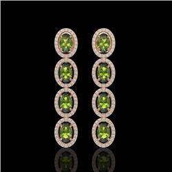 5.88 CTW Tourmaline & Diamond Halo Earrings 10K Rose Gold - REF-121Y3K - 40524