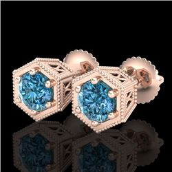 1.15 CTW Fancy Intense Blue Diamond Art Deco Stud Earrings 18K Rose Gold - REF-127N3Y - 38042